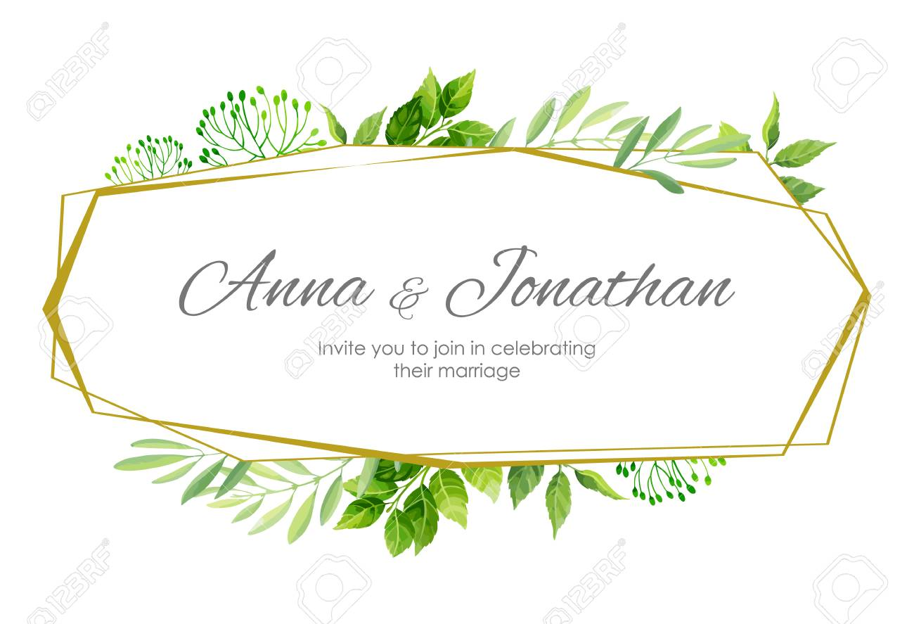 Wedding Invitation With Green Leaves Border And Geometric Frame