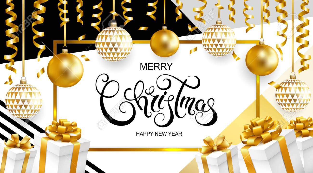 merry christmas and happy new year card with balls gifts and serpentine on geometric background