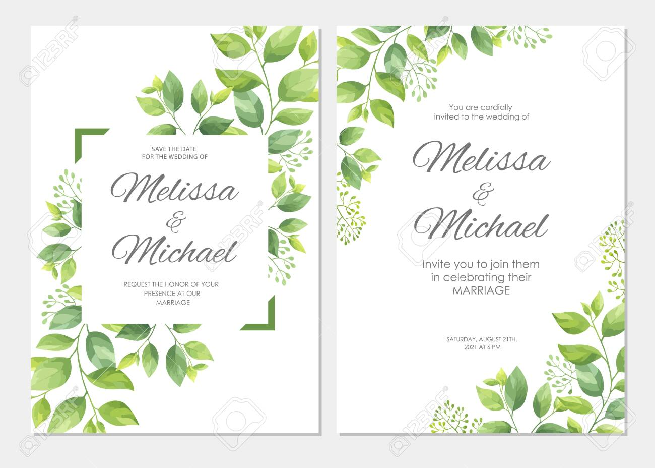 Folding Cards 57 Yellow-Beige Div. Personalised Invitation Cards Wedding