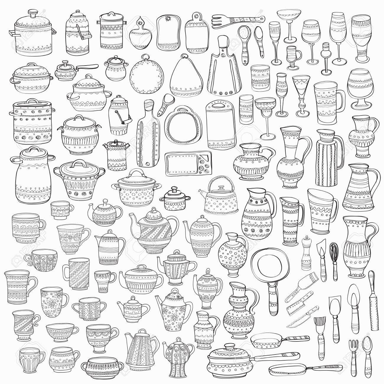 Große Reihe Von 98 Hübsch Hand Verzierten Küchengeräte ...