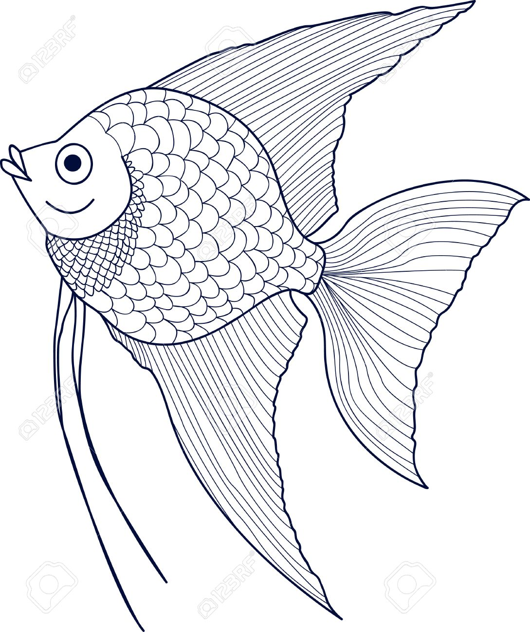 Scalar Sketch Of Aquarium Fish Vector Royalty Free Cliparts