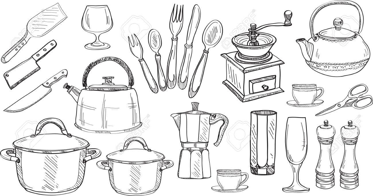Kitchen Tools Drawing Set Of Cute Hand Drawn Kitchen Toolsdoodles Collectionvector