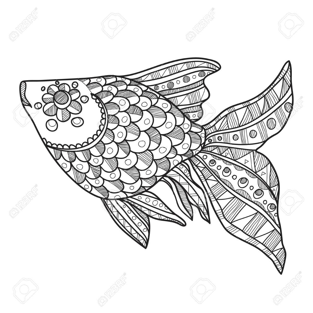 Composition with cute abstract fish ornamented with lines and circles hand drawn abstract fish