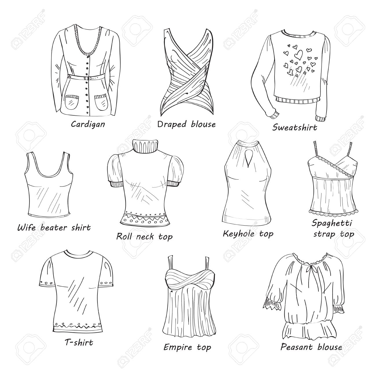 Vector Set Of Hand Drawn Doodles Of Women S Clothes Including