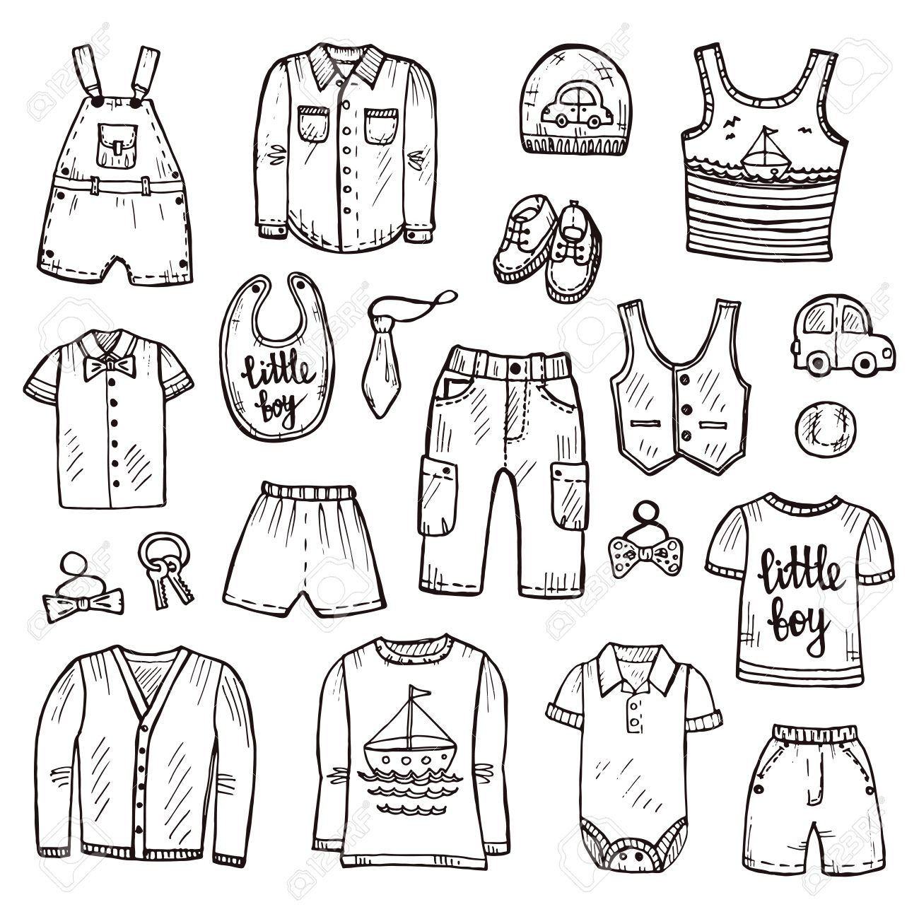 Set Of Cute Hand Drawn Clothes For Baby Boy Including Shirt