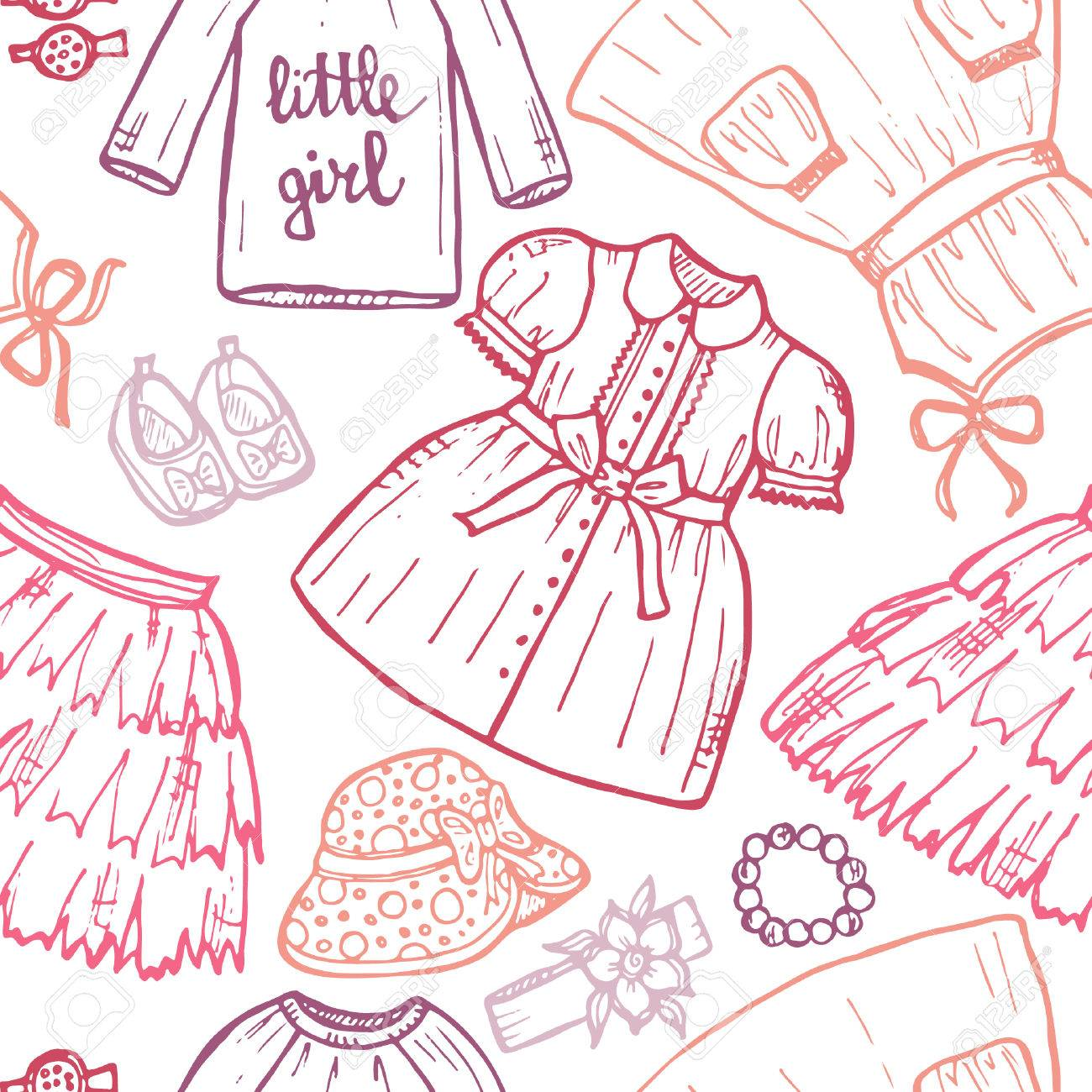 e25ada2afe99 Seamless Pattern With Cute Hand Drawn Clothes For Baby Girl ...