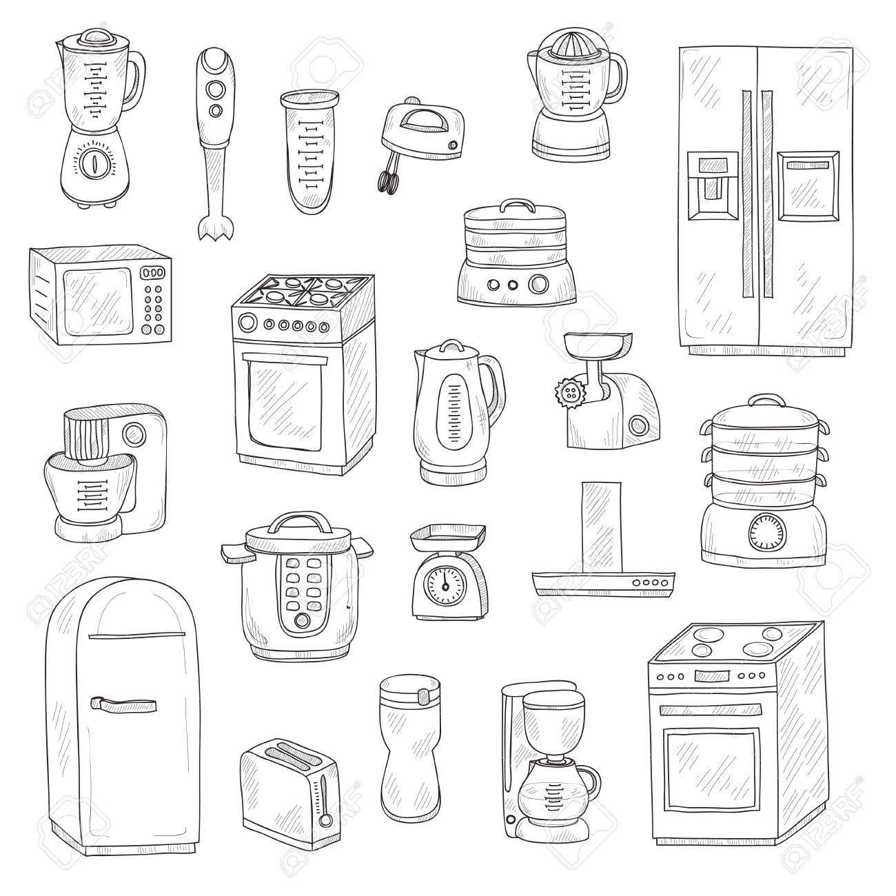 Set Nette Kuchengerate Kuche Sammlung Lizenzfrei Nutzbare Vektorgrafiken Clip Arts Illustrationen Image 53168860