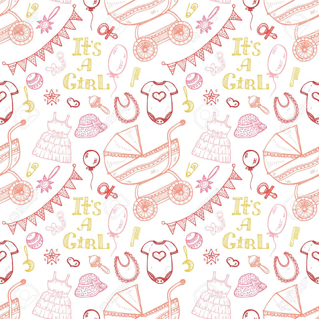 4a29c5cac26a Seamless Pattern With Cute Hand Drawn Baby Care Things