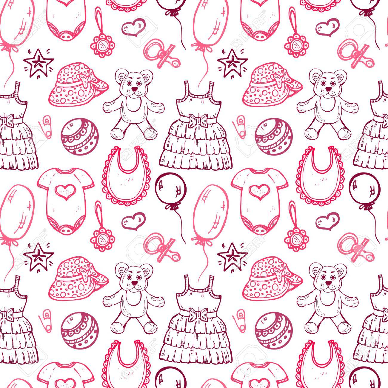 394993abf29a Seamless Pattern With Cute Hand Drawn Clothes And Toys For Baby ...