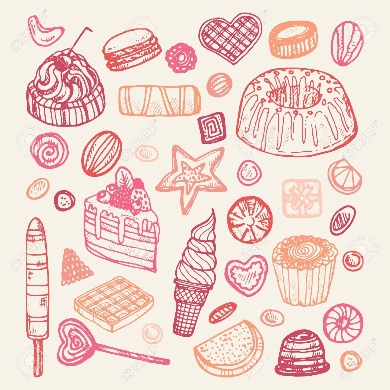 かわいいお菓子とキャンディーのセットのイラスト素材 ベクタ Image