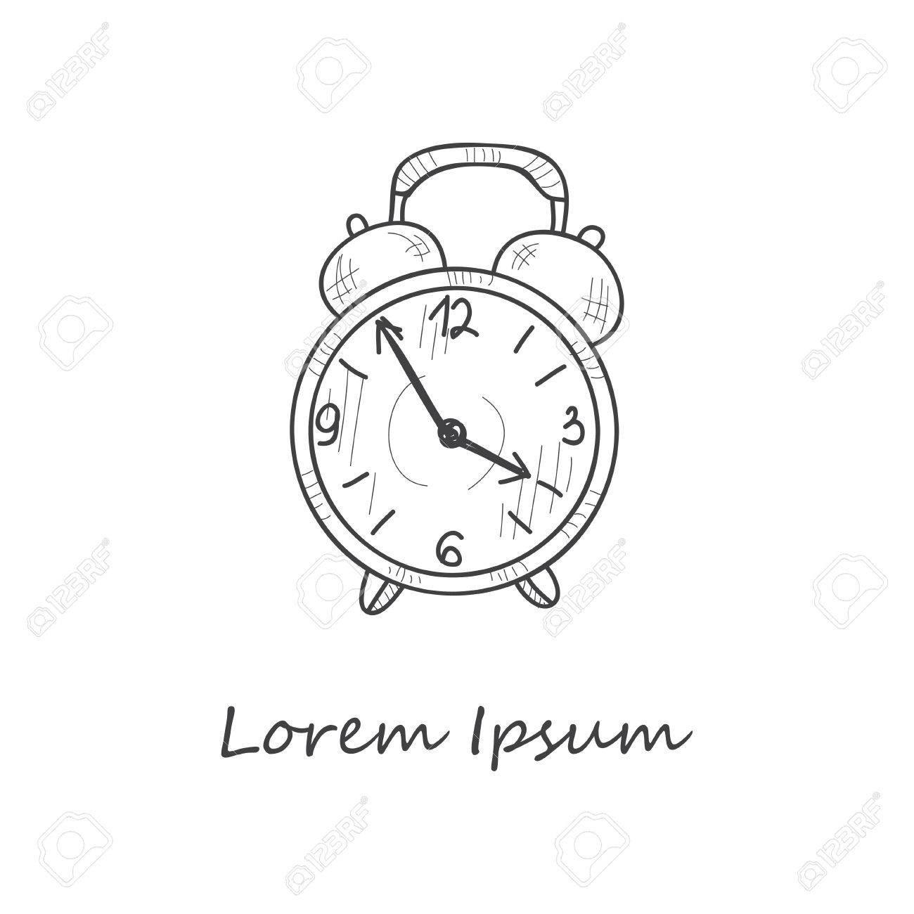 Composition With Cute Hand Drawn Clock Vector Royalty Free Cliparts