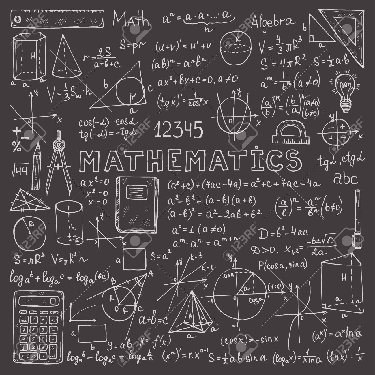 Set with hand drawn mathematics formulas and other elements. Science collection. Vector doodle illustration - 131785803