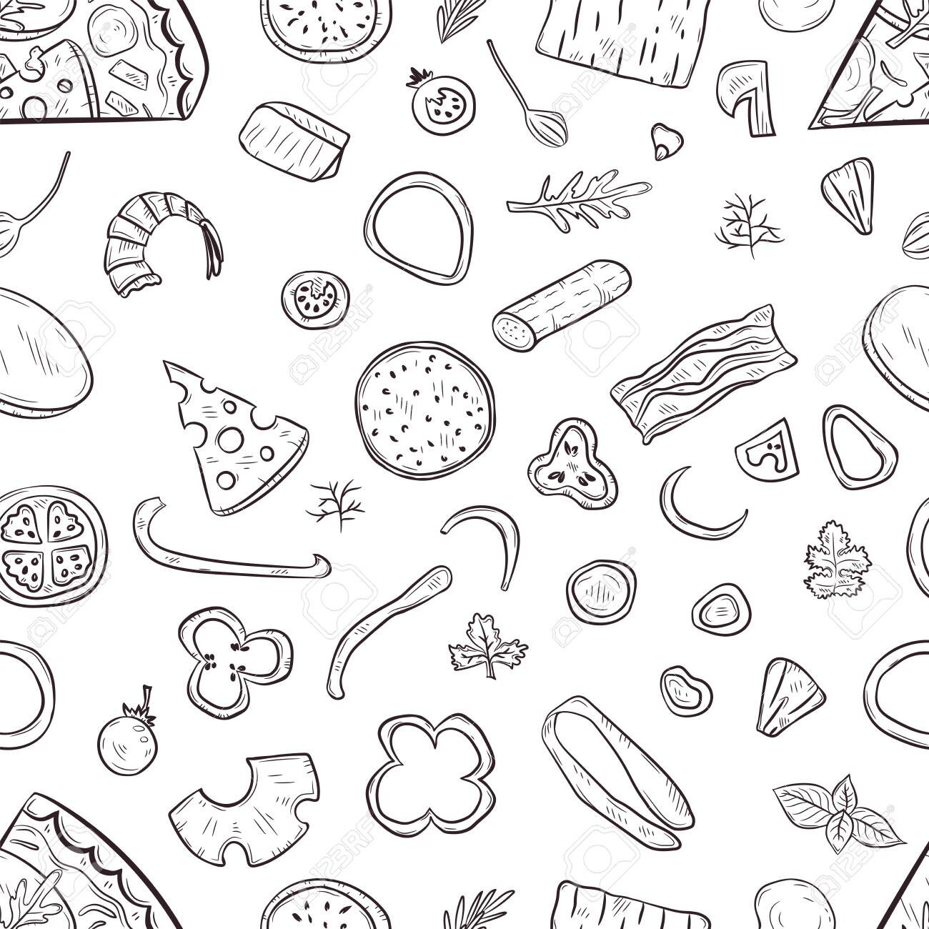 Vector seamless pattern with hand drawn pizza and pizza igridients - 144209029