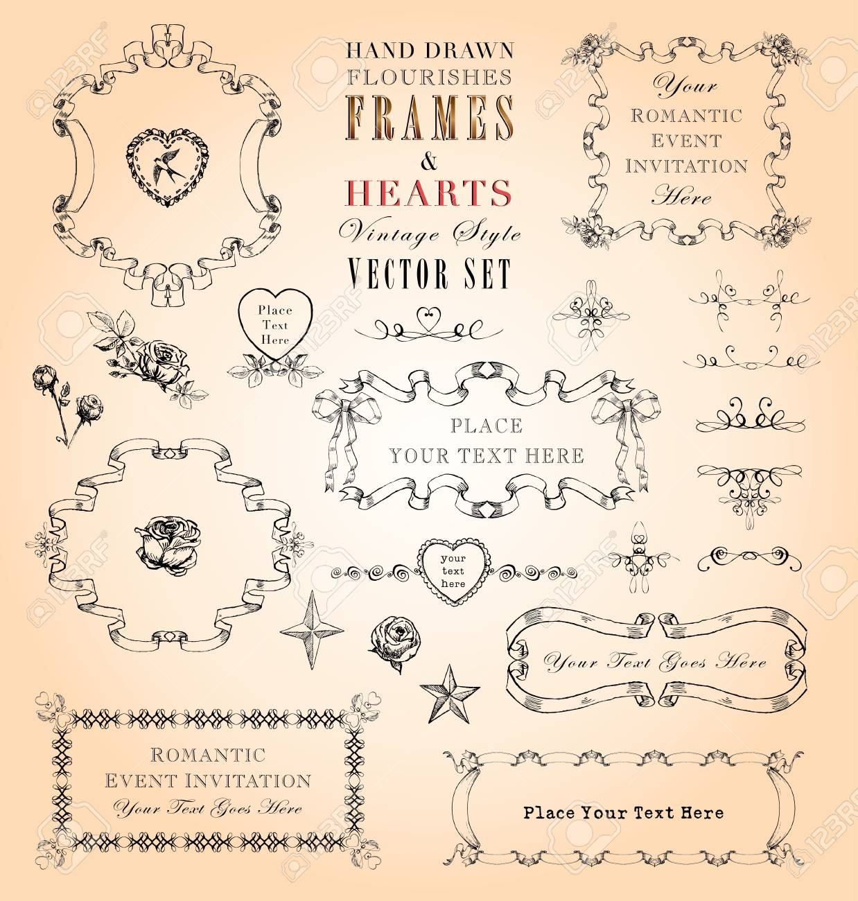 Vintage style ornaments - Hand Drawn Vintage Style Frames And Ornaments Vector Set Stock Vector 18412388