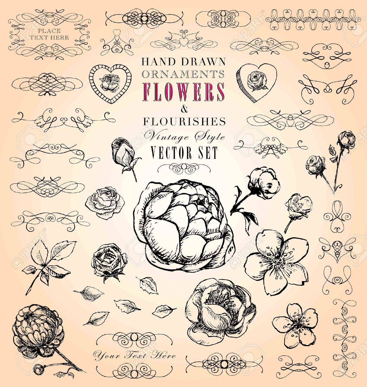 Vintage style ornaments - Hand Drawn Vintage Style Ornaments Flowers Flourishes Vector Set Stock Vector 18412378