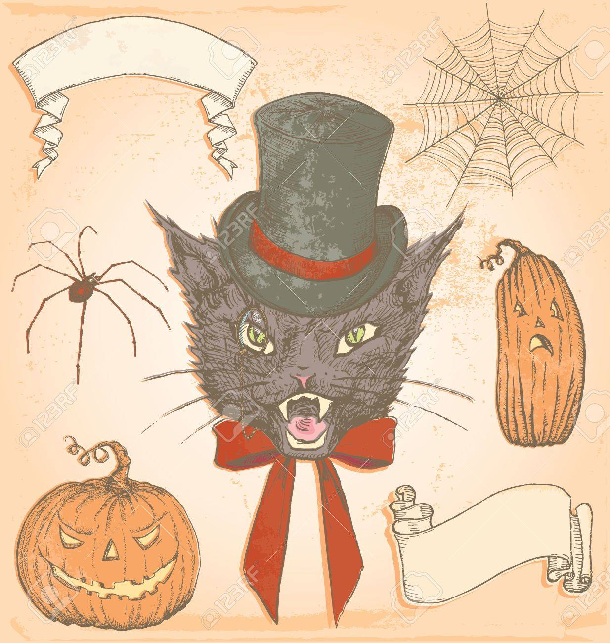 Hand Drawn Vintage Halloween Creepy Cat Vector Set Colour Fills ...