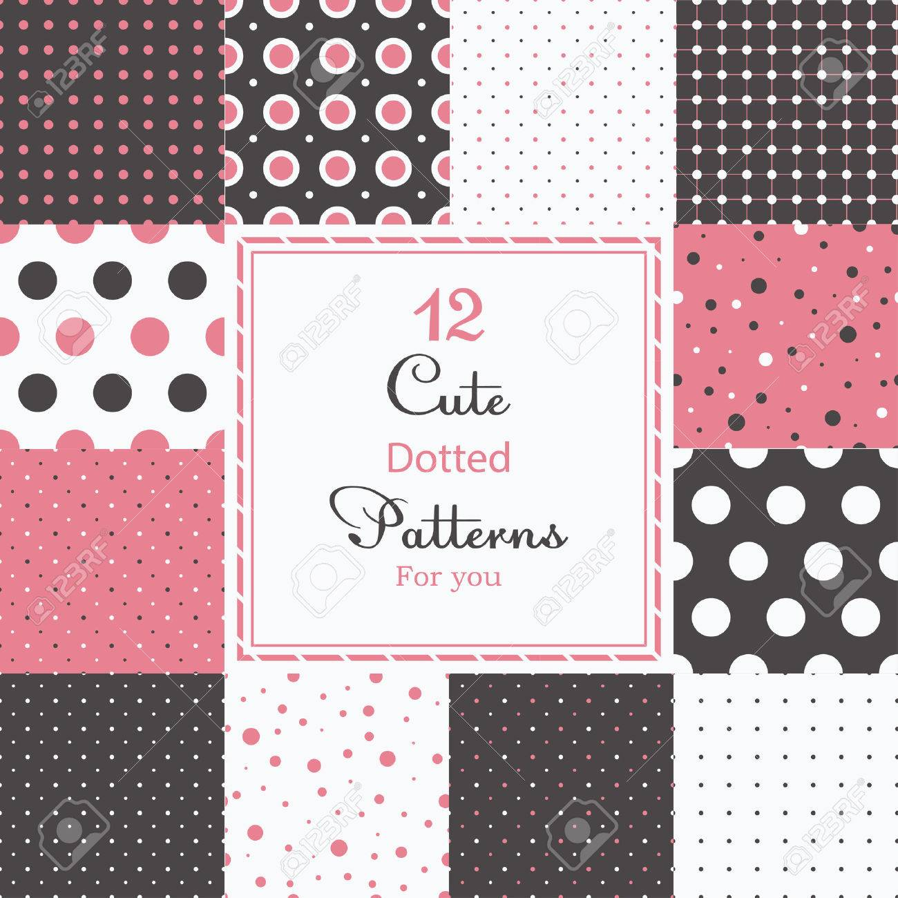 12 Cute different dotted vector seamless patterns  tiling   Polka dots set  Black, white and pink color Stock Vector - 24972659
