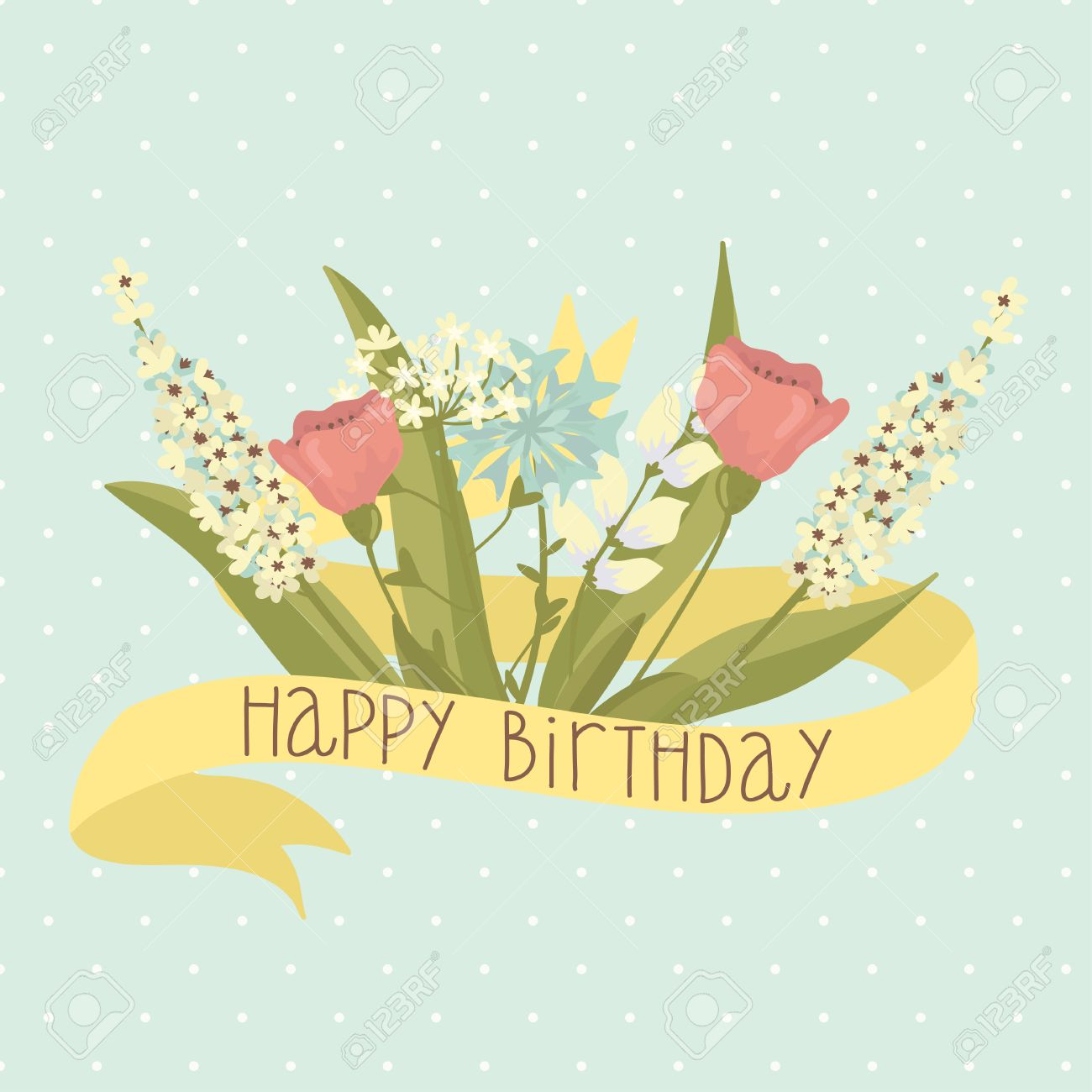 Beautiful happy birthday greeting card with flowers royalty free beautiful happy birthday greeting card with flowers stock vector 28465913 izmirmasajfo