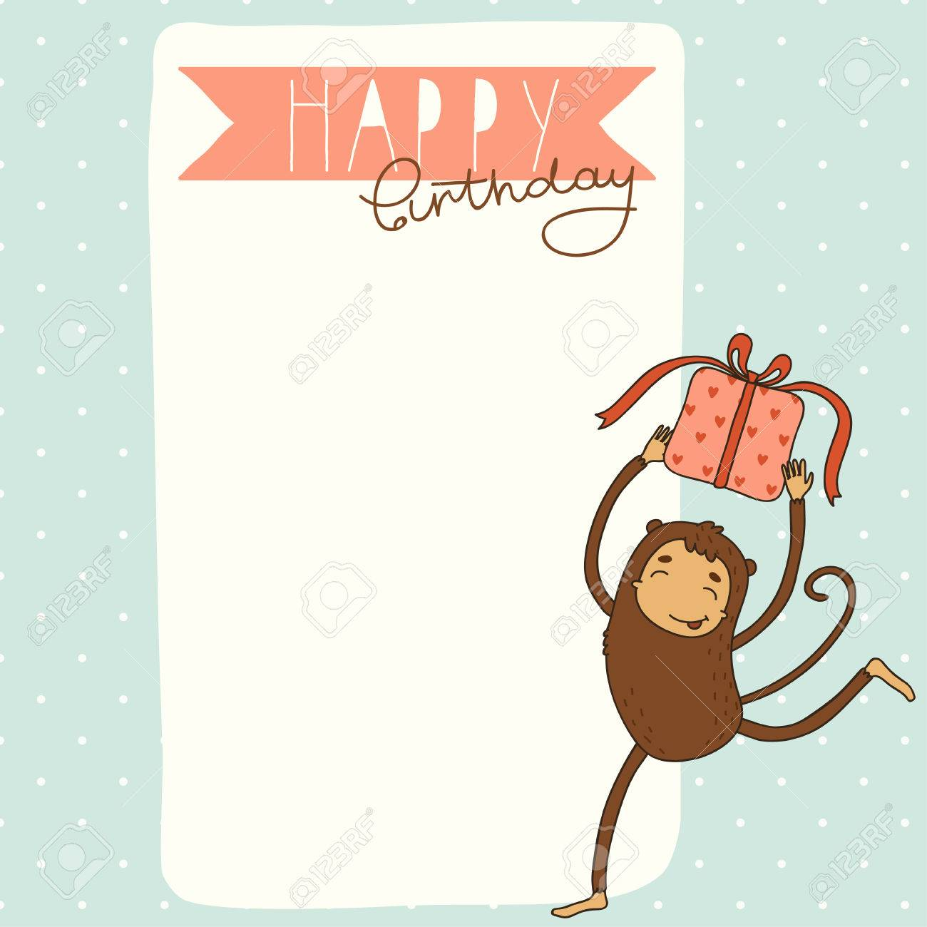 Happy Birthday Card Background With Monkey Stock Vector