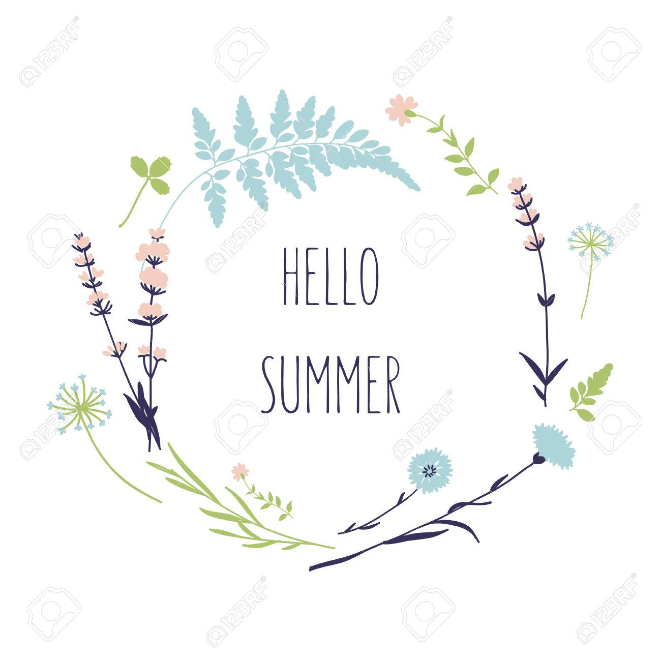 Merveilleux Floral Wreath With Wild Flowers. Hello Summer Card In Vector Stock Vector    45712896