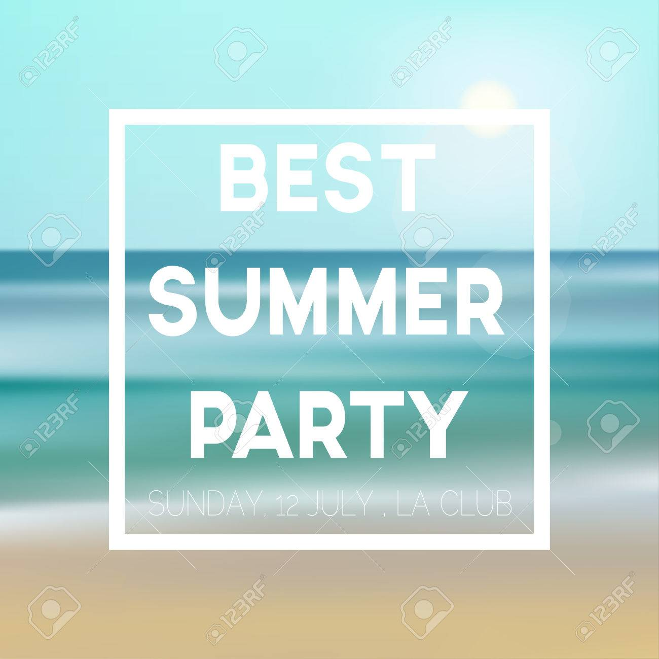 Abstract Ocean Seascape With Blurred Background Summer Party – Free Summer Party Invitation Templates