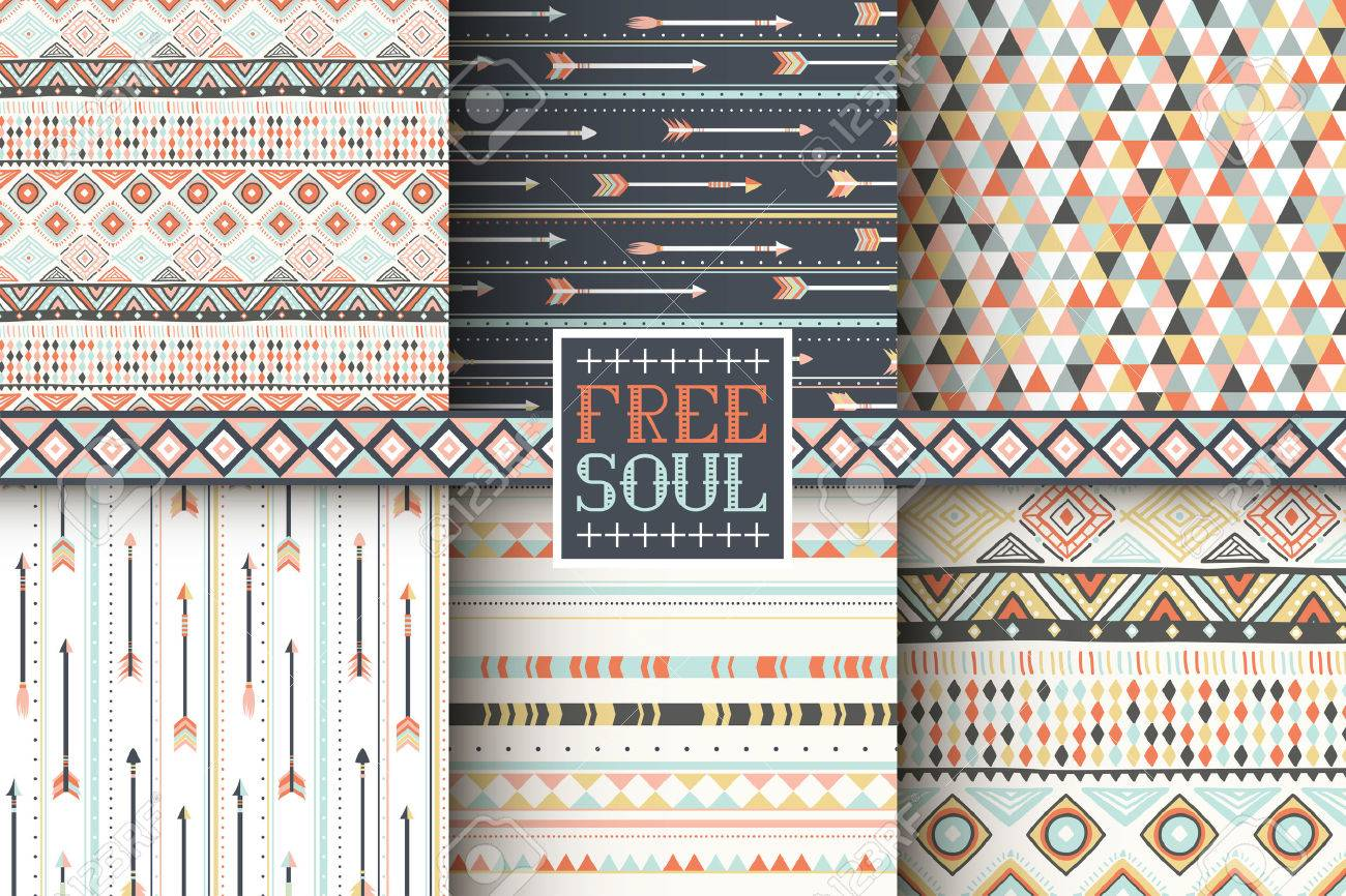 Superb Set Of 6 Ethnic Seamless Patterns. Tribal Geometric Background. Stylish  Trendy Fabric. Modern Amazing Pictures