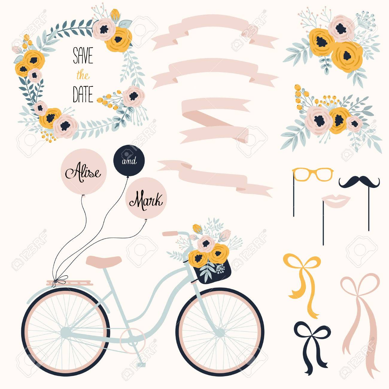 Vector wedding set with summer flowers, ribbons and bicycle. Vector illustration. Vintage collection. Stock Vector - 45712931