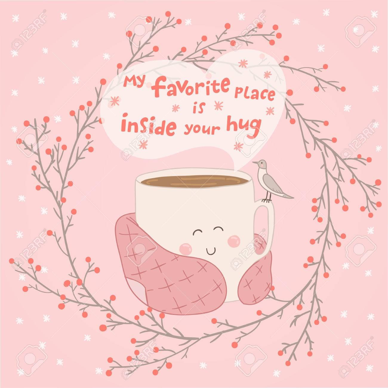 Ferienkarte Mit Netten Tasse Tee In Decke Und Mit Möwe. Valentinstag ...