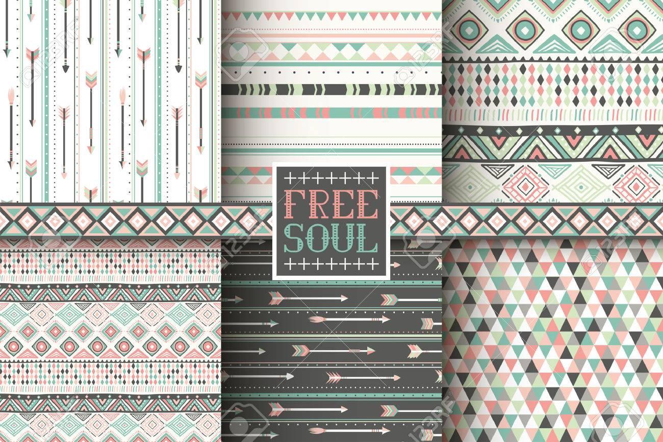 Set Of 6 Ethnic Seamless Patterns. Tribal Geometric Background. Stylish  Trendy Fabric. Modern