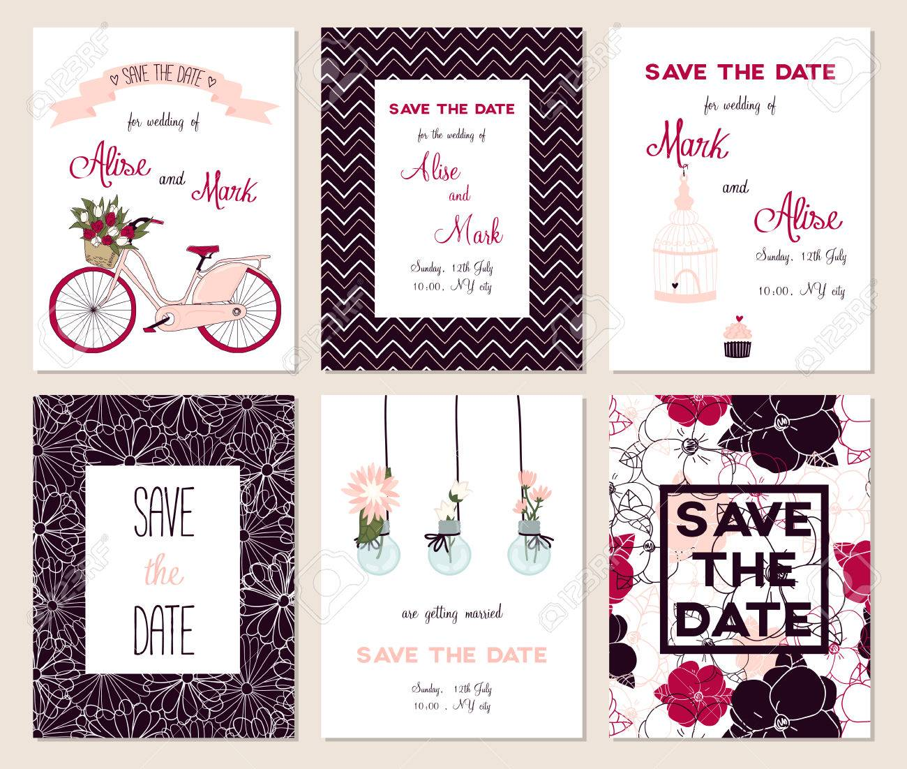 Collection of 6 cute card templates. Wedding, marriage, save the date, baby shower, bridal, birthday, Valentine's day. Stylish simple design. Vector illustration. Stock Vector - 45712958