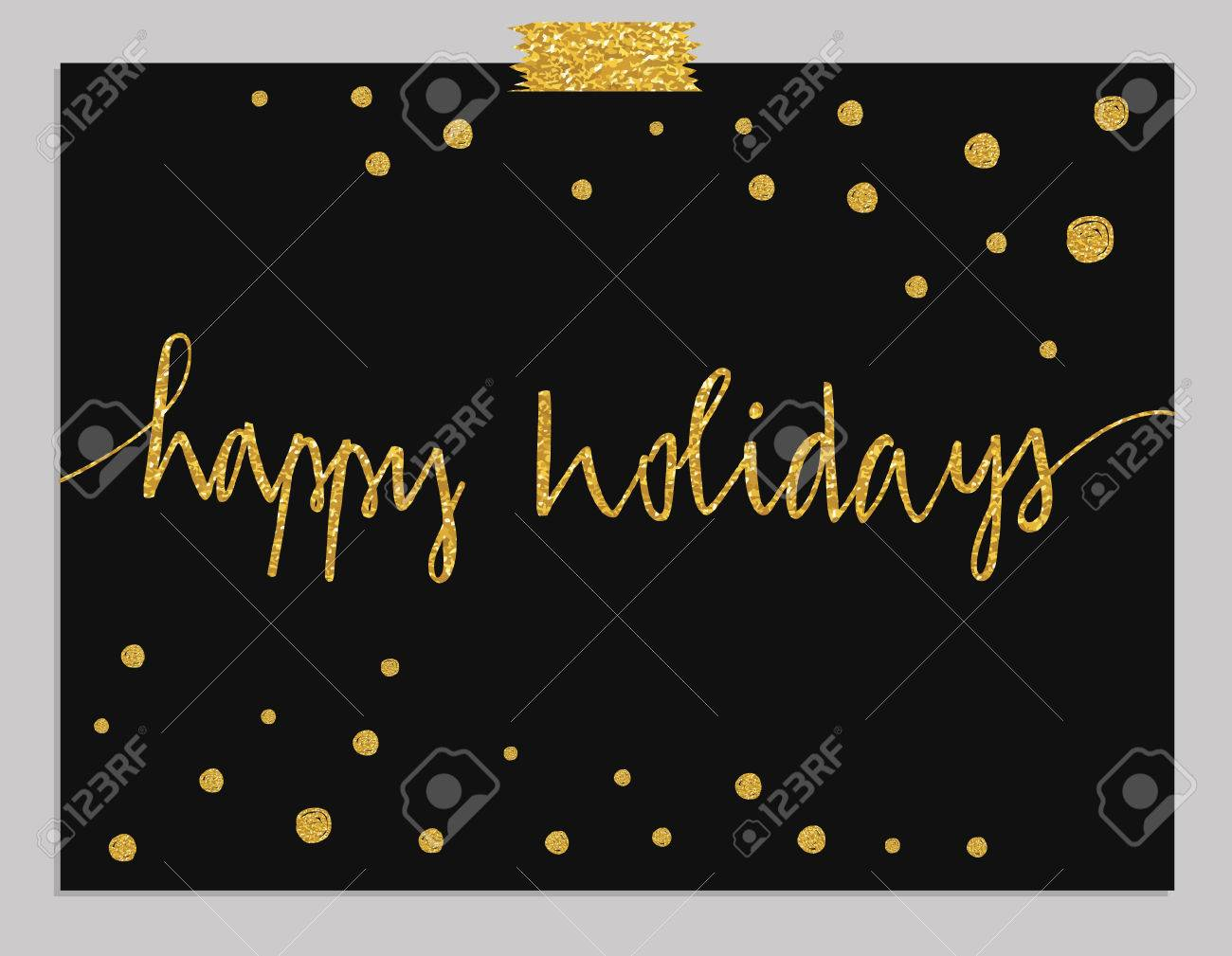 Hand drawn typography card. Happy Holidays greetings hand-lettering isolated on mint striped background with gold dots. - 47780874