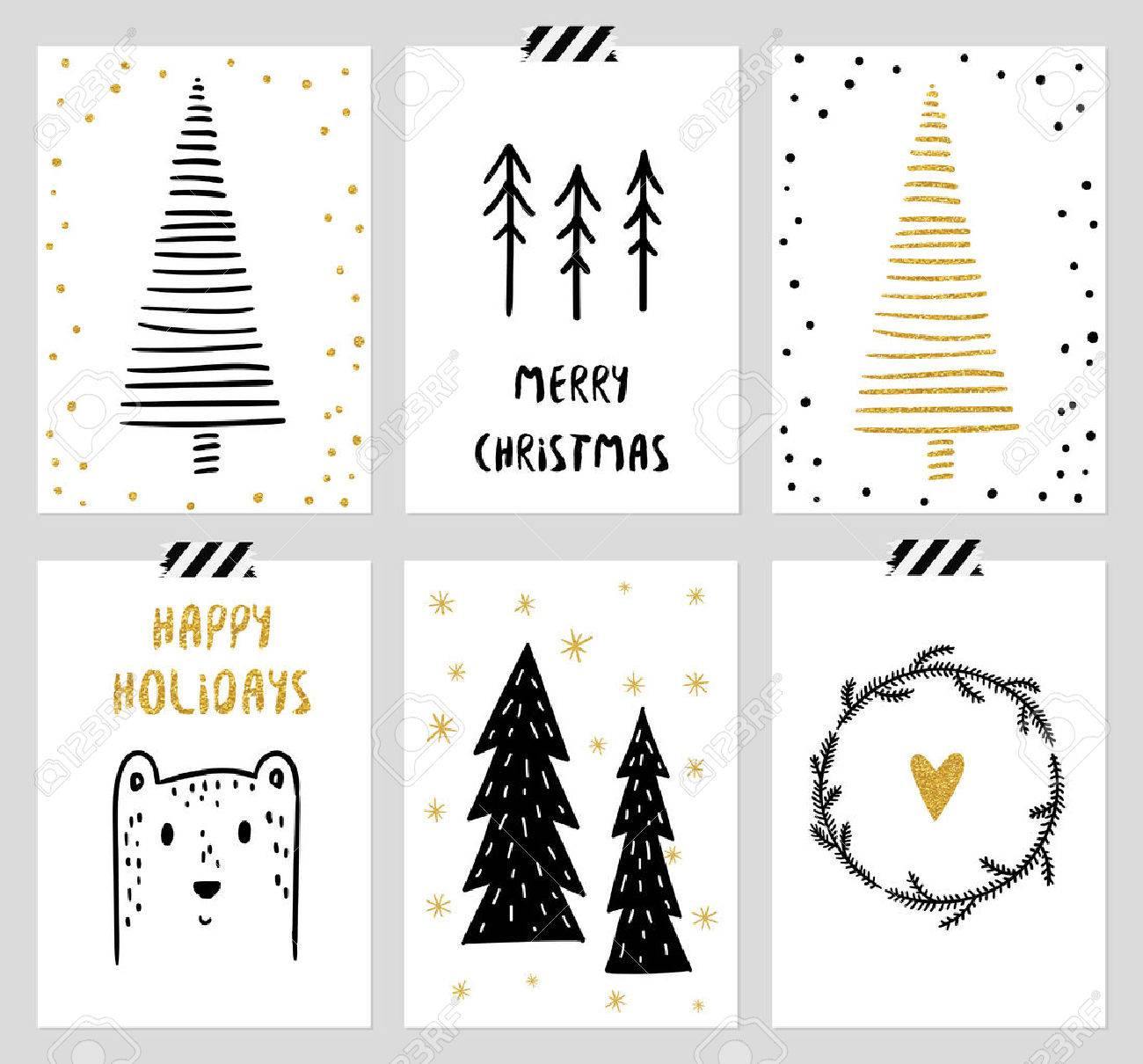 Christmas And New Year S 6 Cards Collection Set Of Winter Holiday Royalty Free Cliparts Vectors And Stock Illustration Image 47782425