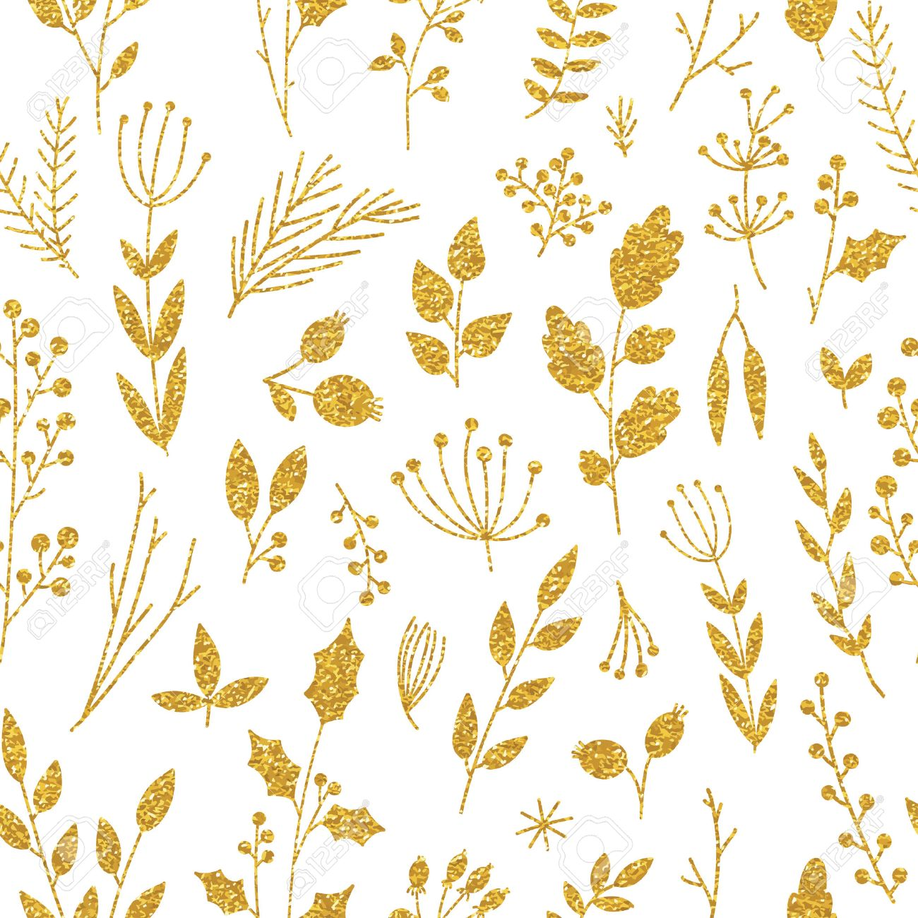 vector gold pattern floral texture with hand drawn flowers and