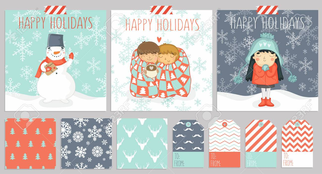 Big Set Of Three Christmas Cards, Seamless Patterns For Warping ...