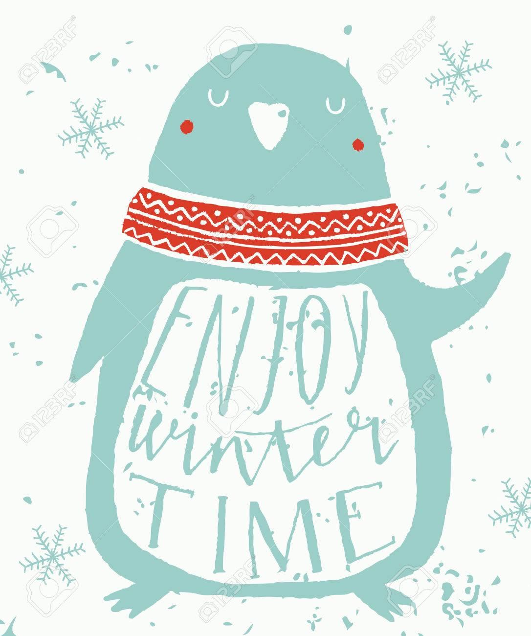 Tarjeta De Felicitación De La Navidad Con El Pingüino. Disfrute De ...