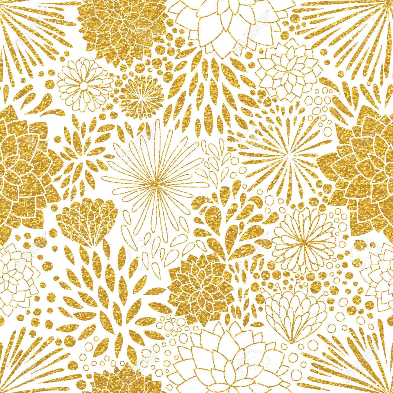 Vector Gold Seamless Patterns. Modern Stylish Texture. Trendy Gold Glitter