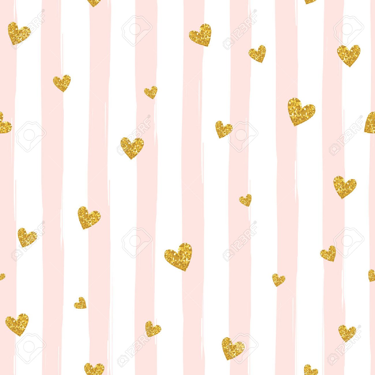 Confetti background vector golden confetti background - Gold Glittering Heart Confetti Seamless Pattern On Striped Background Stock Vector 51837386