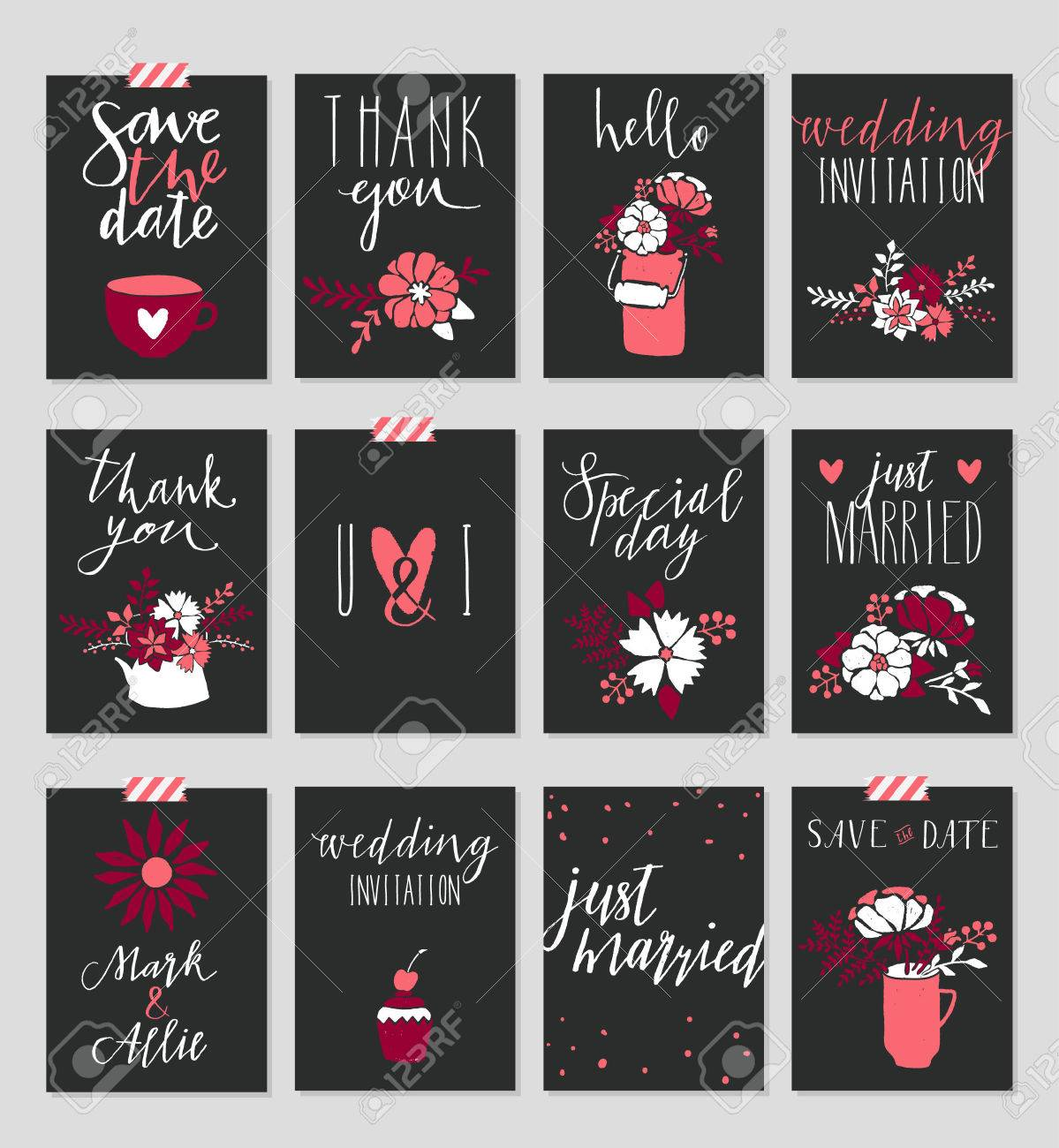 Collection Of 12 Cute Card Templates Valentine S Day Wedding