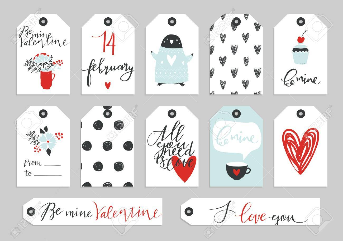 Set Of Valentine S Day Typographic Gift Tags And Labels In Gold