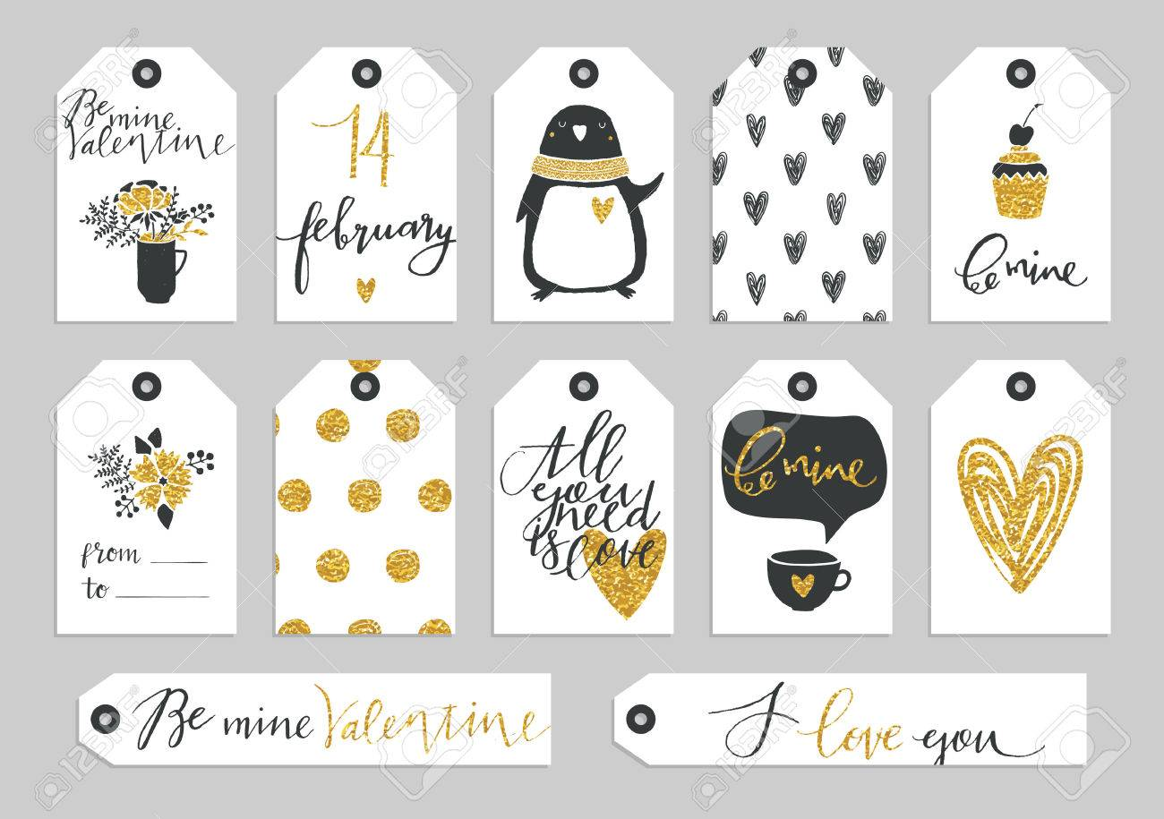 Set Of Valentine's Day Typographic Gift Tags And Labels In Gold ...
