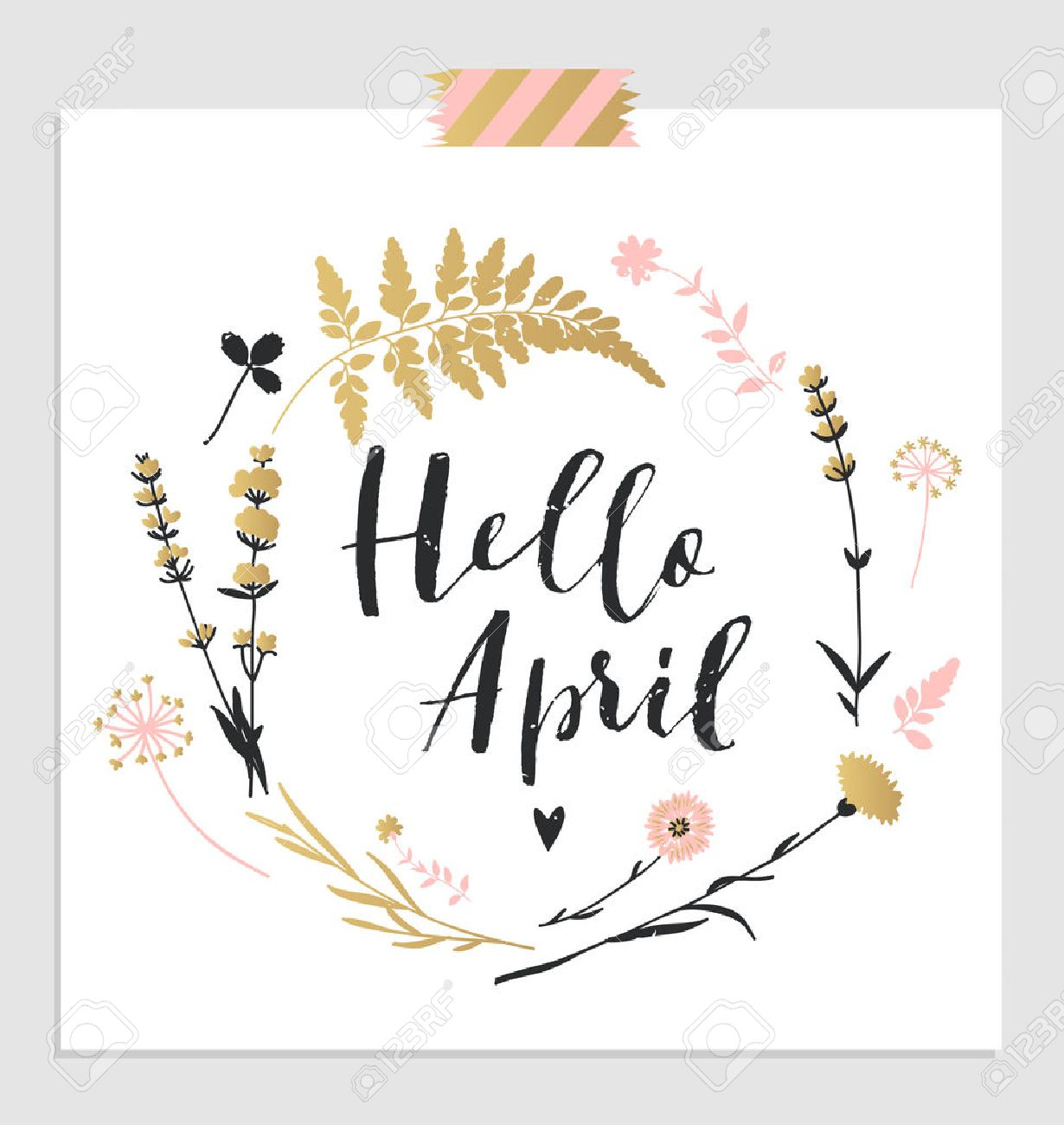 """Cute spring floral card template """"Hello April"""". Perfect for invitation, scrapbooking, web, card, blog, sale, calendar cover, notes and many other. Vector illustration - 55487423"""