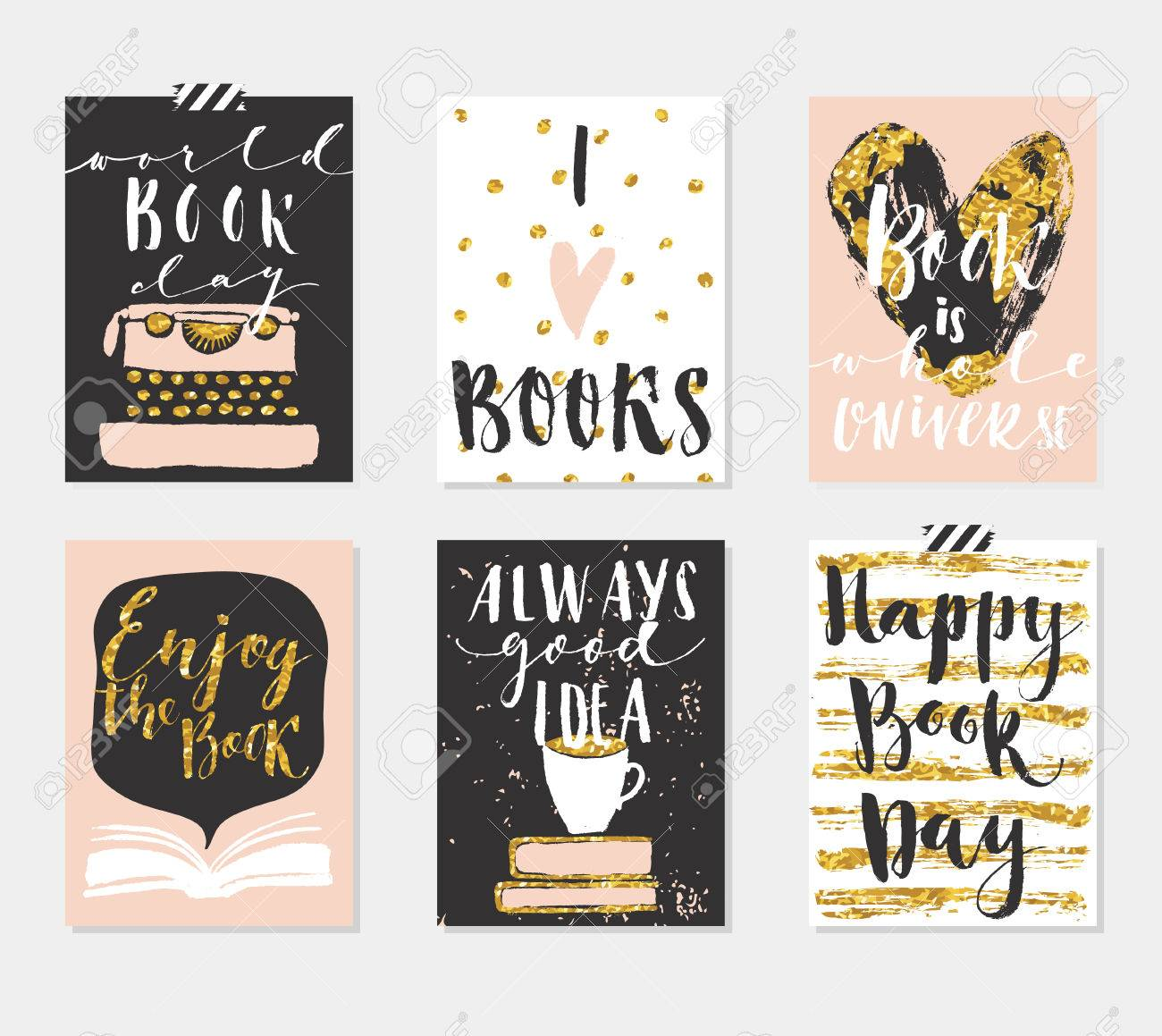 happy book day s 6 gold cards collection set of card templates