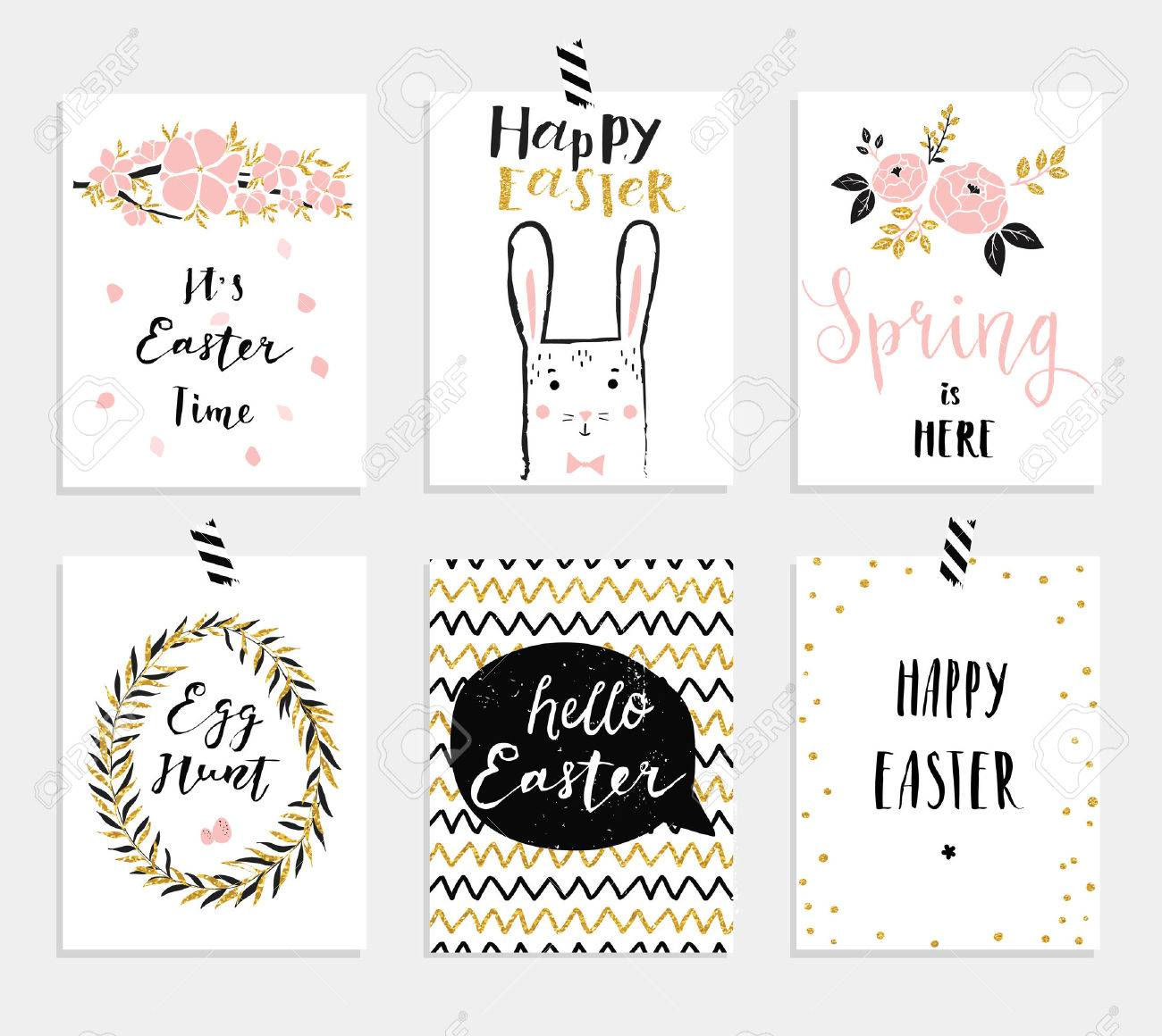 Set of 6 cute easter greeting cards template for invitations set of 6 cute easter greeting cards template for invitations banners planner negle Choice Image