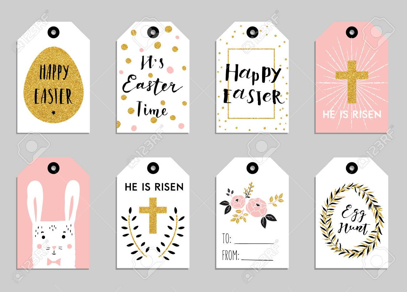 Easter gift tags with cute easter bunny watering can with flowers easter gift tags with cute easter bunny watering can with flowers and easter greetings negle Choice Image