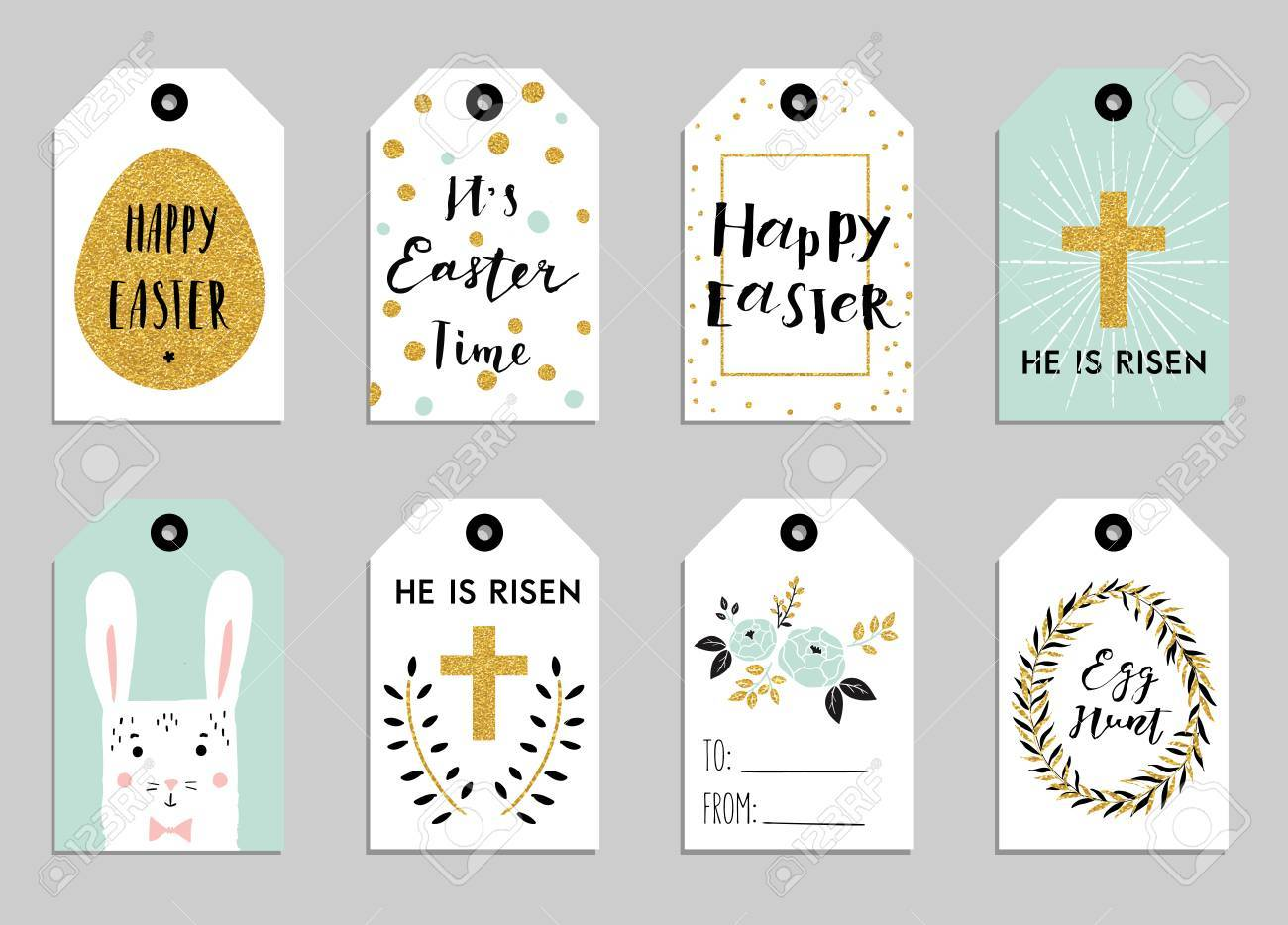 Easter gift tags with cute easter bunny watering can with flowers easter gift tags with cute easter bunny watering can with flowers and easter greetings negle Image collections