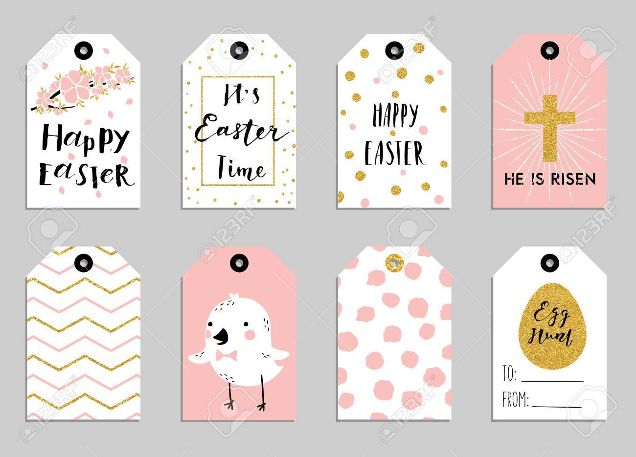 Easter gift tags with cute easter bunny watering can with flowers easter gift tags with cute easter bunny watering can with flowers and easter greetings negle Images
