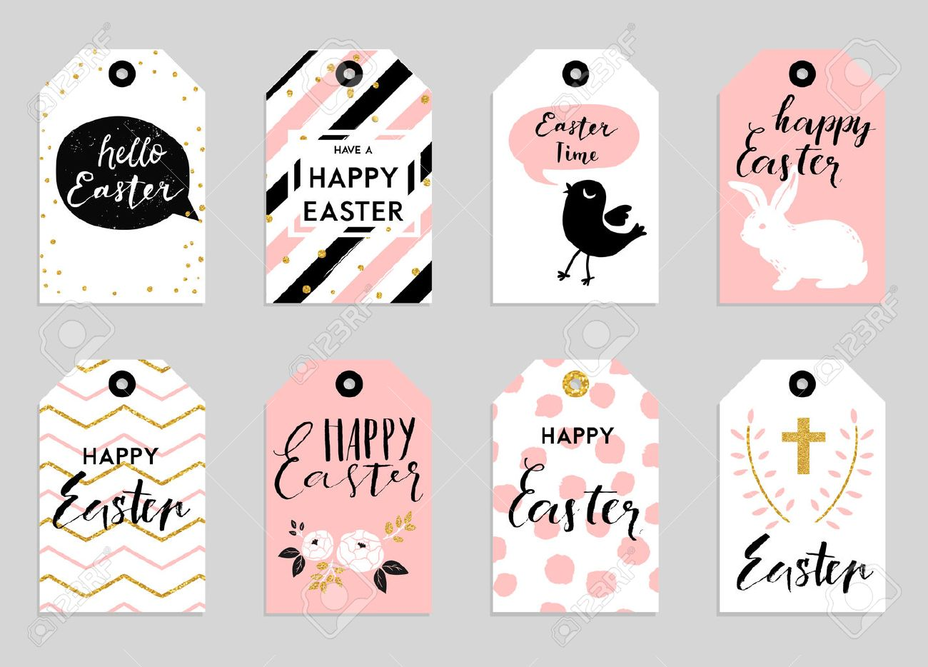 8 easter gift tags with cute easter bunny watering can with 8 easter gift tags with cute easter bunny watering can with flowers and easter greetings negle Image collections