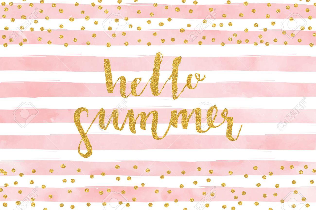pretty summer card template gold glitter confetti on striped