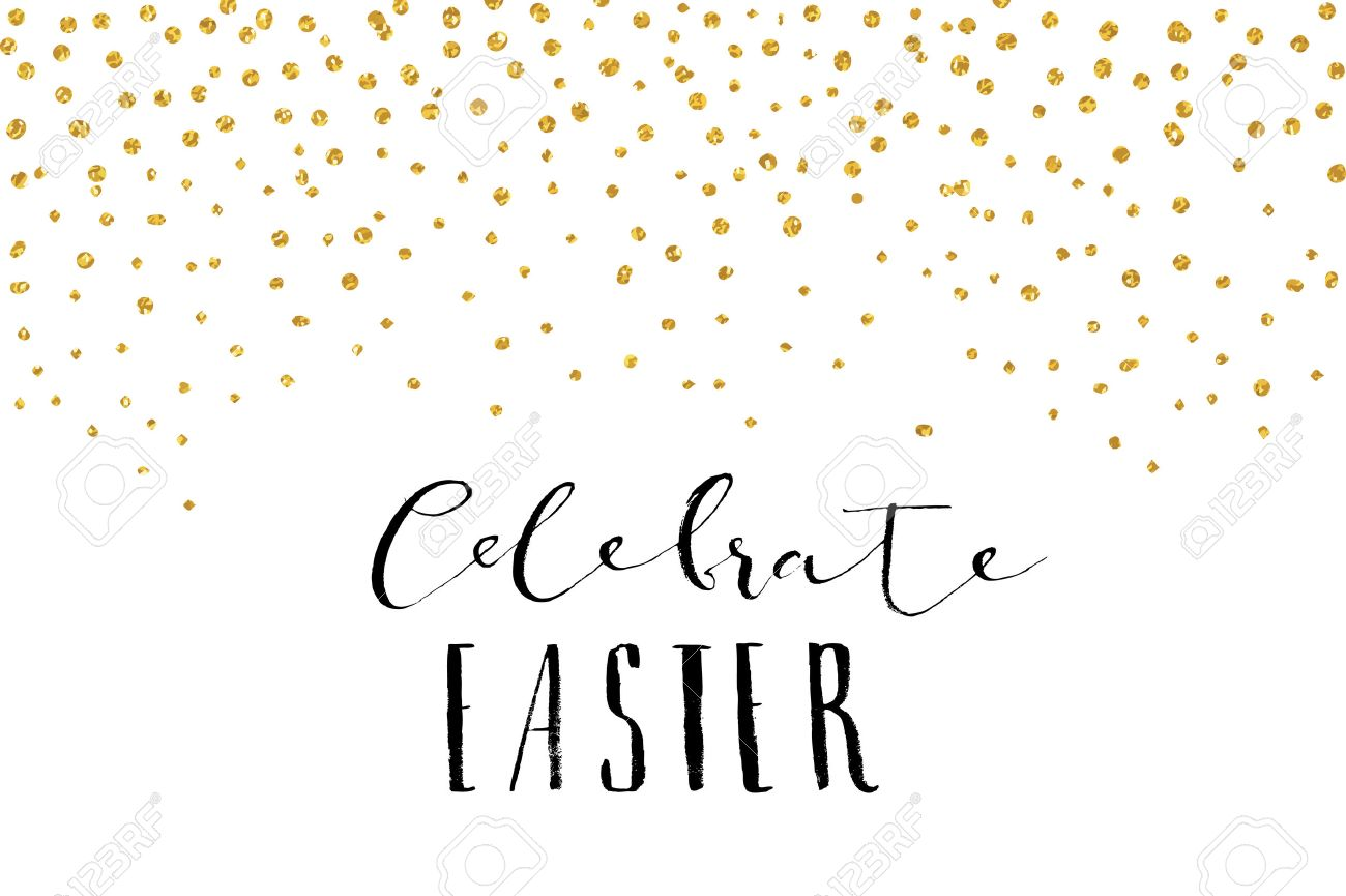 Pretty Easter Card Template Gold Glitter Confetti On White – Easter Card Template