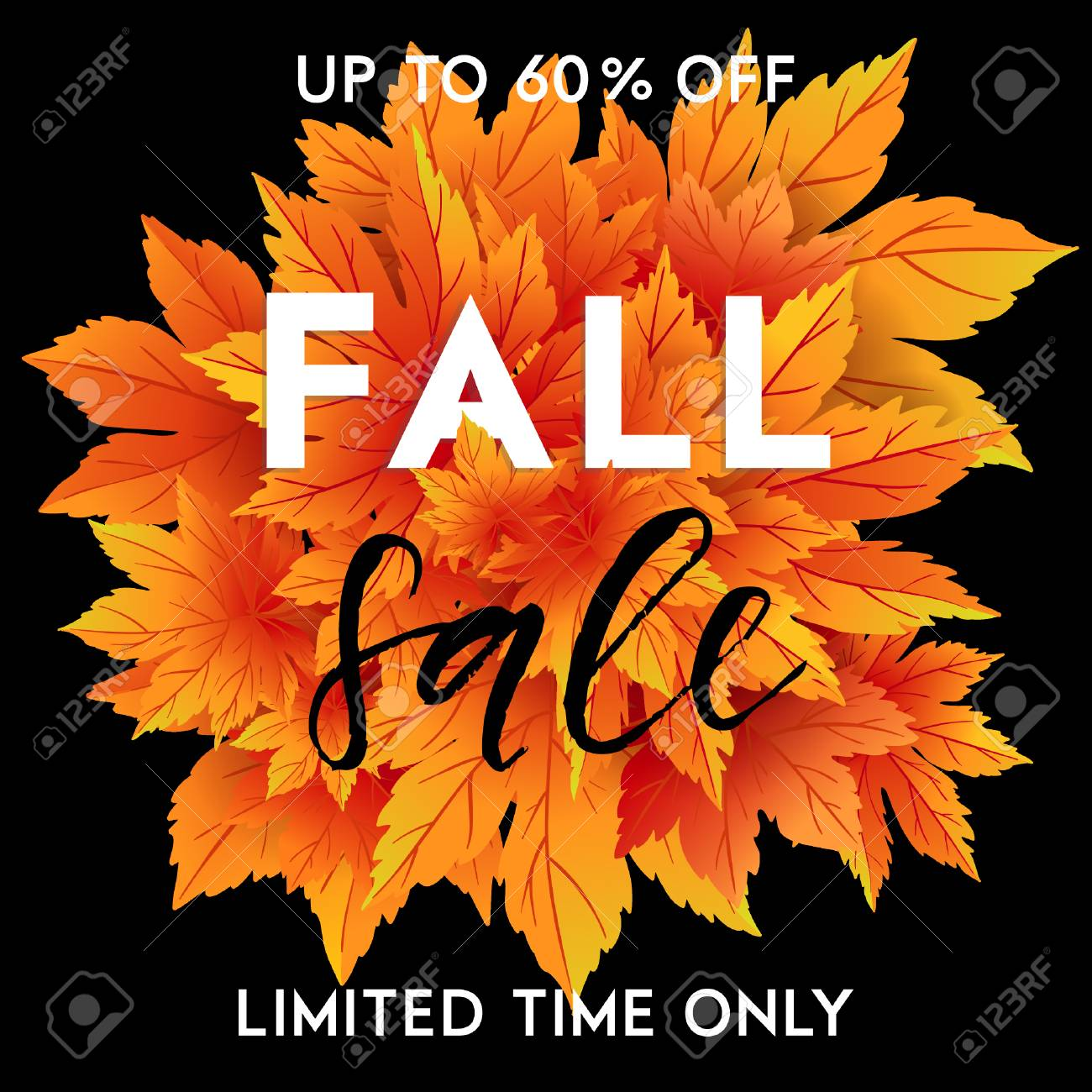 autumn sale template with lettering bright fall leaves poster